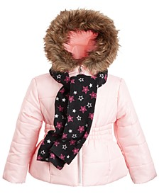 Little Girls Hooded Jacket With Faux-Fur Trim & Scarf