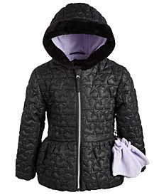 Toddler Girls Hooded Quilted Coat With Faux-Fur Trim & Mittens