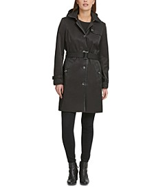 Belted Faux-Leather-Trim Hooded Trench Coat