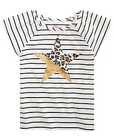 Little Girls Striped Graphic-Print T-Shirt, Created for Macy's