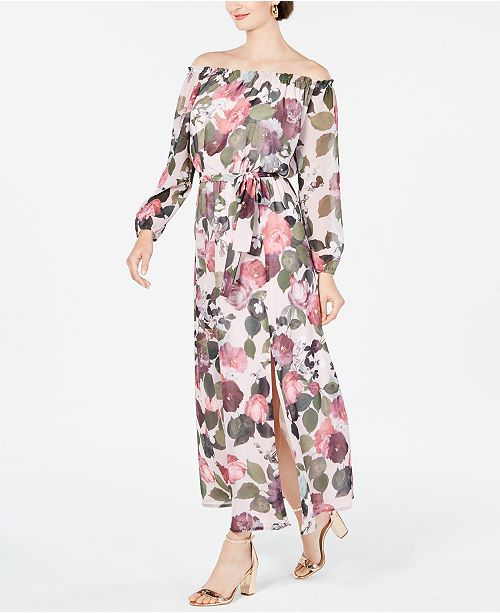 INC International Concepts INC Off-The-Shoulder Floral Maxi Dress, Created for Macy's