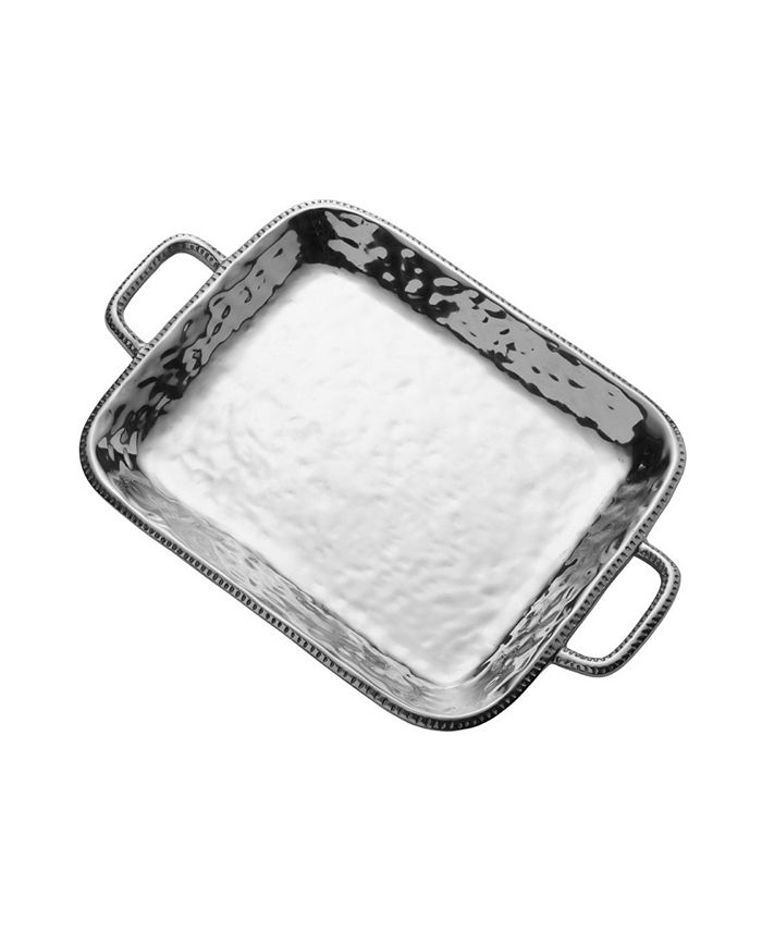 Wilton Armetale - River Rock Large Rectangle Tray with Handles