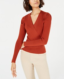 Lucy Paris Puffed-Shoulder Surplice Sweater