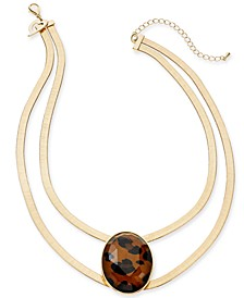 "Gold-Tone Large Stone Double Strand Statement Necklace, 16"" + 3"" extender, Created for Macy's"