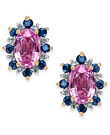 Multi-Sapphire (1-5/8 ct. t.w.) & Diamond Accent Stud Earrings in 14k Rose Gold