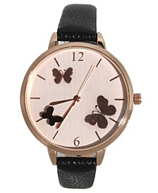 Women's Reflective Butterflies Dial Leather Strap Watch 40mm