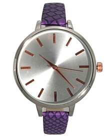 Women's Snake Design Rosegold Accent Leather Strap Watch 40mm