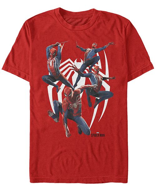 Marvel Men's Spider-Man Many Poses Of Spider-Man Short Sleeve T-Shirt