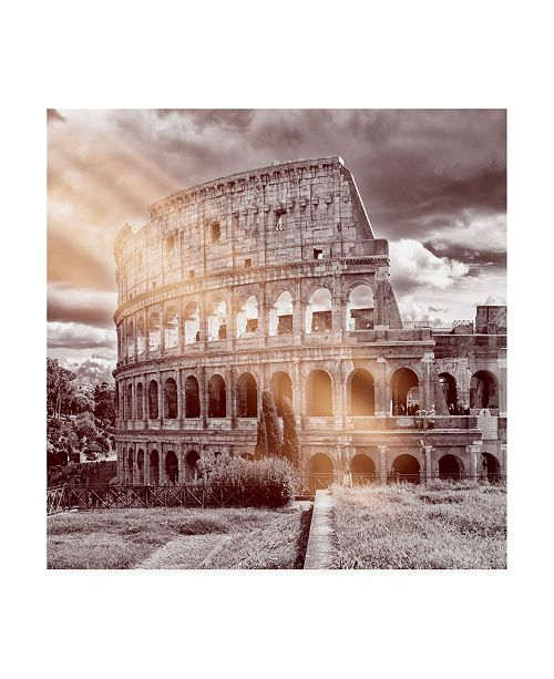 "Trademark Global Philippe Hugonnard Dolce Vita Rome 3 Colosseum of Rome IV Canvas Art - 19.5"" x 26"""