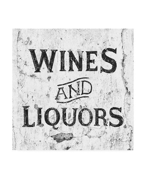 "Trademark Global Philippe Hugonnard Made in Spain 3 Wines and Liquors Sign B&W Canvas Art - 15.5"" x 21"""