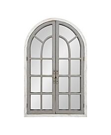 "Boldmere Wood Windowpane Arch Mirror - 28"" x 44"""