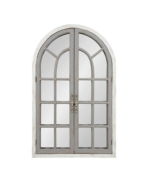 """Kate and Laurel Boldmere Wood Windowpane Arch Mirror - 28"""" x 44"""""""