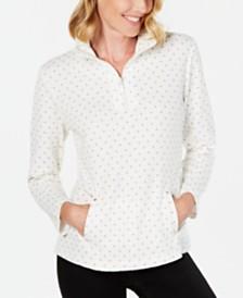 Karen Scott Petite Printed Zip-Neck Top, Created For Macy's