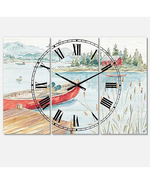 Designart Lake House 3 Panels Metal Wall Clock