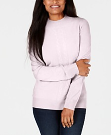 Karen Scott Petite Cable-Knit Crewneck Sweater, Created for Macy's