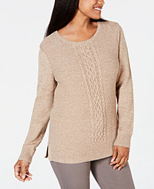 Karen Scott Cable-Knit Panel Sweater, Created for Macy's