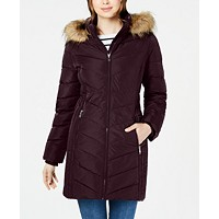 Deals on Tommy Hilfiger Chevron Faux-Fur Trim Hooded Puffer Coat