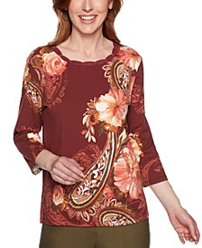 Petite Cedar Canyon Printed Studded Top