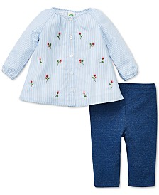 Little Me Baby Girls 2-Pc. Cotton Striped Embroidered Top &  Pants Set