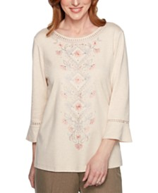 Alfred Dunner Boardroom Embroidered Bell-Sleeve Top