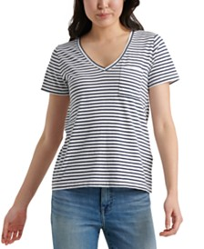 Lucky Brand V-Neck Striped T-Shirt
