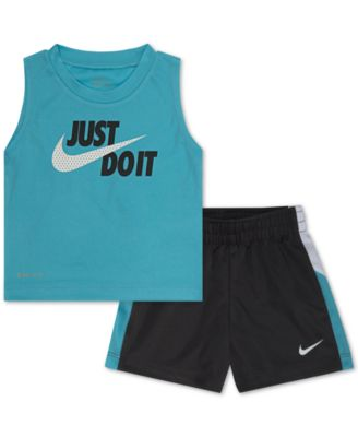 Athletic Kids Apparel Boys 2 Piece Printed Muscle Tank Top and Shorts Activewear Set
