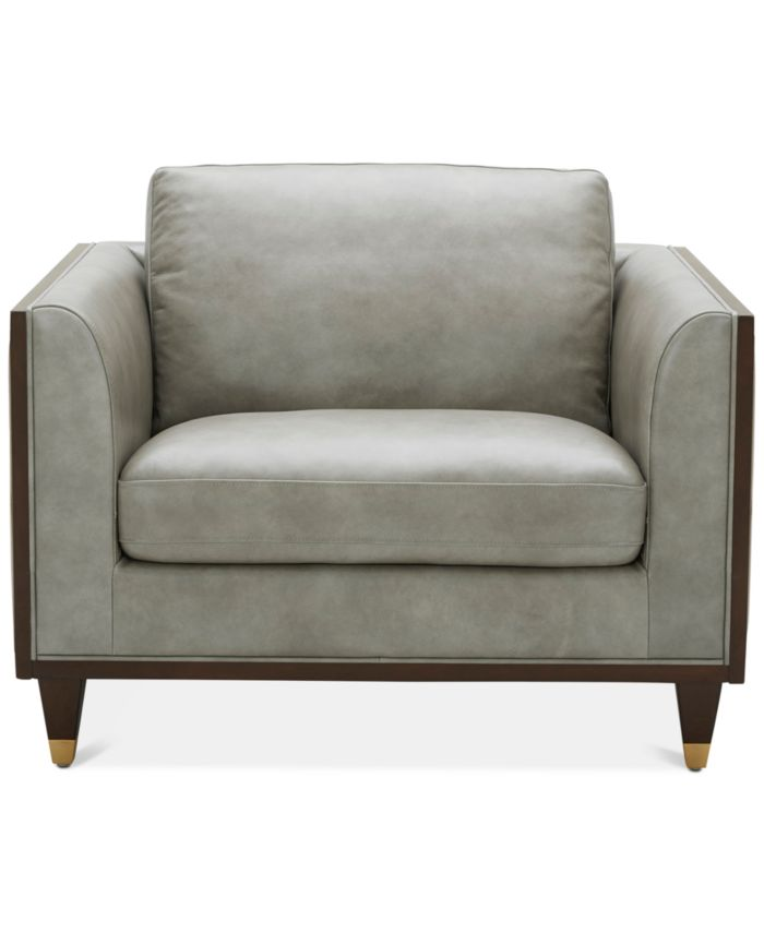 """Furniture CLOSEOUT! Reavere 43"""" Leather Chair & Reviews - Furniture - Macy's"""
