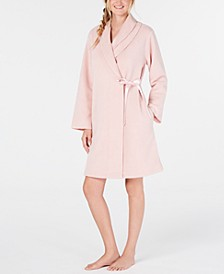 Layered-Collar Fleece Short Robe, Created for Macy's