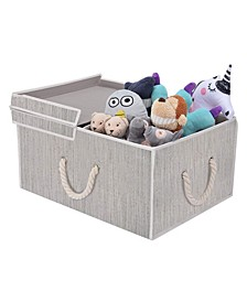 Foldable Fabric Storage Bin with Cotton Rope Handles and Double-Open Lid