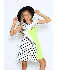 Lanoosh Little Girls Fun Flare Contrast Detail Dress