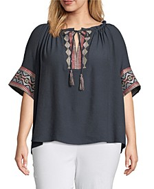 Embroidered Peasant Blouse, Plus Size