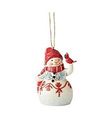 Jim Shore Mini Red White Snowman Ornament