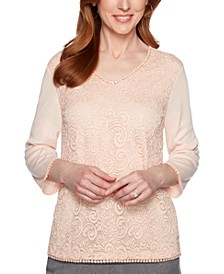 Boardroom Lace Scalloped-Trim Top