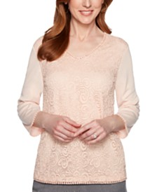 Alfred Dunner Boardroom Lace Scalloped-Trim Top