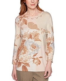 Boardroom Printed Embellished-Neck Sweater