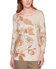 Alfred Dunner Boardroom Printed Embellished-Neck Sweater