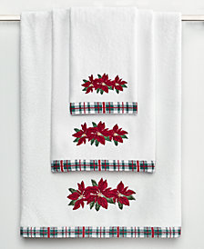 CLOSEOUT! Martha Stewart Collection Poinsettia Bath Towel Collection, Created for Macy's