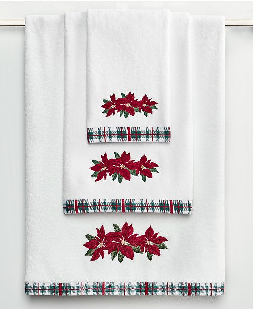 Martha Stewart Collection CLOSEOUT! Poinsettia Bath Towel Collection, Created for Macy's