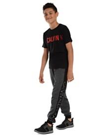 Calvin Klein Jeans Big Boys Colorblocked Mesh Logo-Panel Fleece Joggers