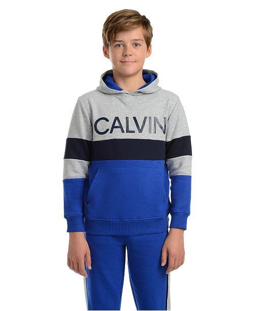 Calvin Klein Big Boys Colorblocked Rugby Stripe Fleece Logo Hoodie