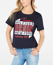 Tommy Hilfiger Denim Cotton Graphic Cropped T-Shirt, Created for Macy's