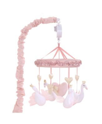 Grace Pink Swan and Hearts Musical Mobile