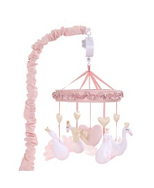 The Peanutshell Grace Pink Swan and Hearts Musical Mobile