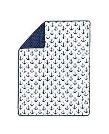 Anchor Print Pompom Trim Blanket