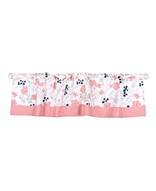 Coral & Navy Floral Print Tailored Window Valance