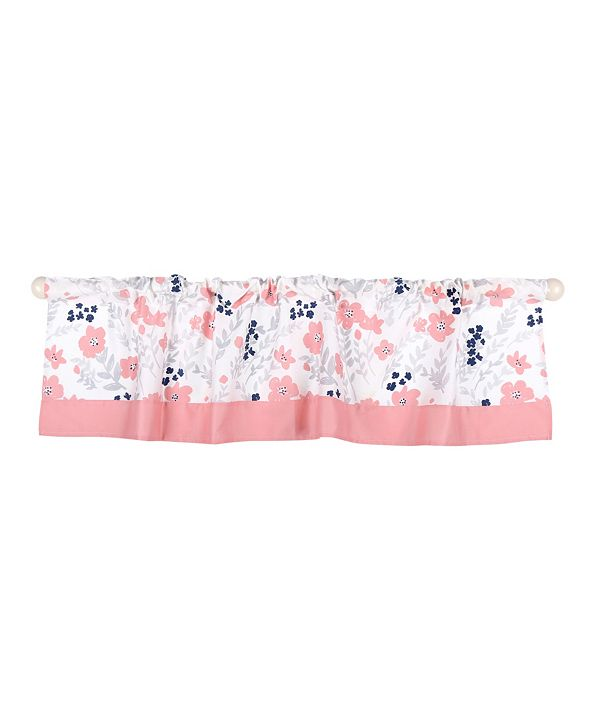 The Peanutshell Coral & Navy Floral Print Tailored Window Valance