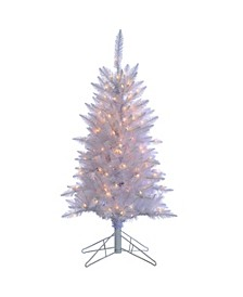 4Ft. White Tiffany Tinsel Tree with 150 clear lights