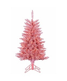4Ft Pink Tuscany Tinsel Tree with 150 Clear Lights