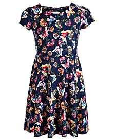 Big Girls Butterfly-Print Bow Back Dress, Created for Macy's