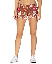 Juniors' Floral-Print Board Shorts